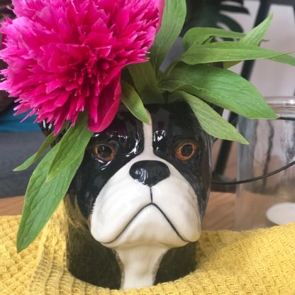 Vase in shape of a french bulldog