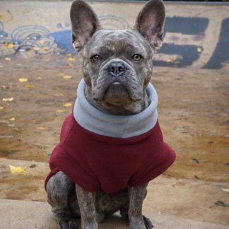 Frenchie Karl in een getailleerde sweater in Bordeaux grijs