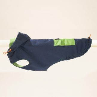Raincoat for dogs in blue and green