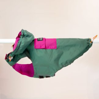 Raincoat for dogs in green and pink