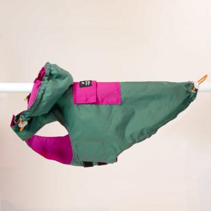 Regenjas voor honden in groen en roze