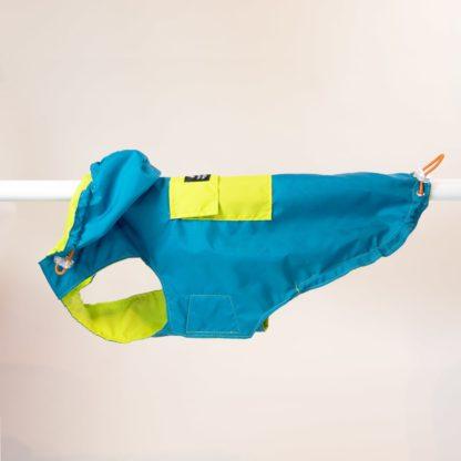 Regenjas voor honden in petrol en limoen