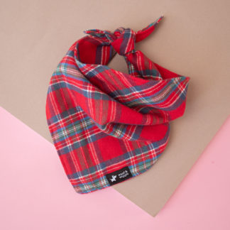 Red flannel checkered bandana for dogs