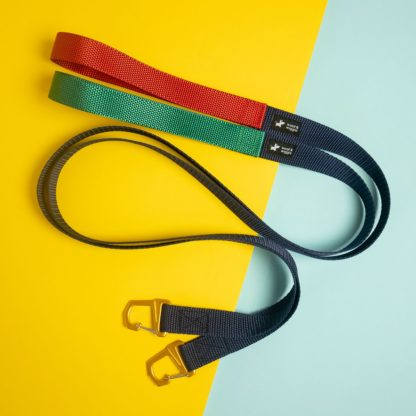 City Leash hondenriem in groen-navy en rood-navy