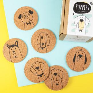 Sottobicchieri di sughero stampati con i cani