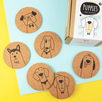 Cork coasters printed with dogs