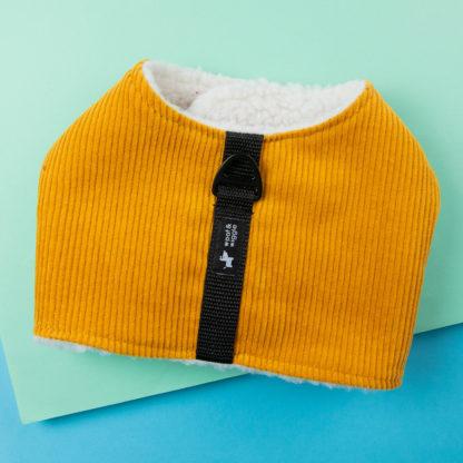 Gelbes Hundegeschirr aus Cord