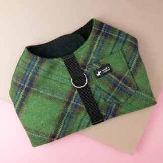 Green checkered dog harness