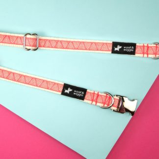 Dog collar with a red triangle pattern