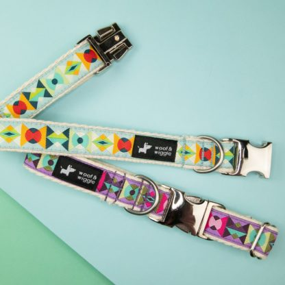 Dog collar with colorful geometric shapes