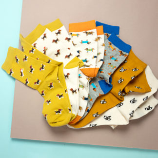 Socks with various dog designs