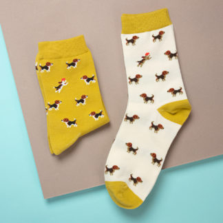 Socks with beagle design