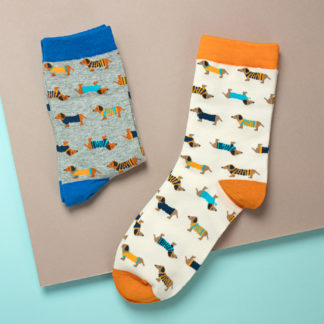 "Socks with dog motif ""Dachshund"" in orange and blue"