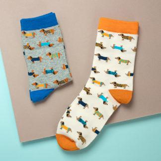 """Dackel Socken mit Hundemotiv """"Dachshund"""" in Orange und Blau"""