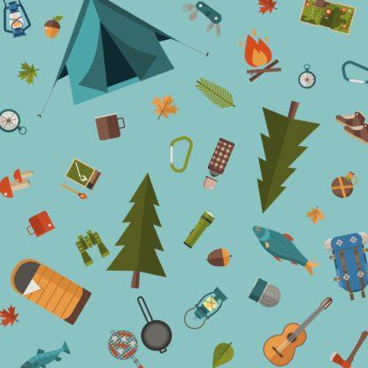 Hundehalstuch mit Camping Motiven