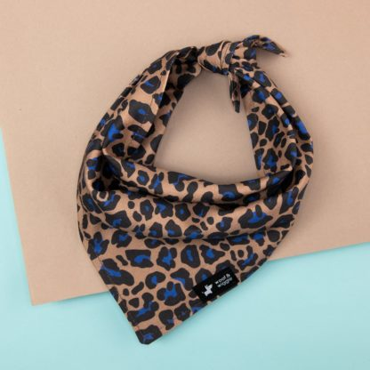 Brown dog bandana with a blue leopard print