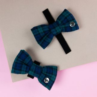 Blue and green checkered flannel dog bow tie