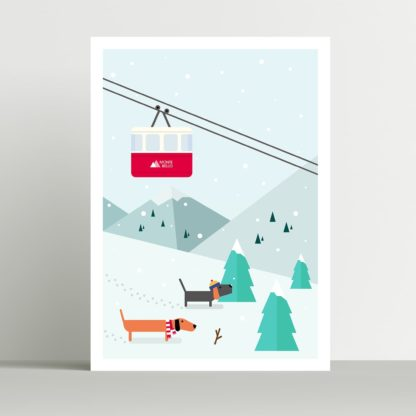 Dog Poster Winter Alps