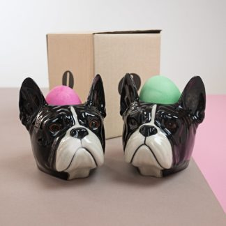 Egg cups in shape of french bulldogs