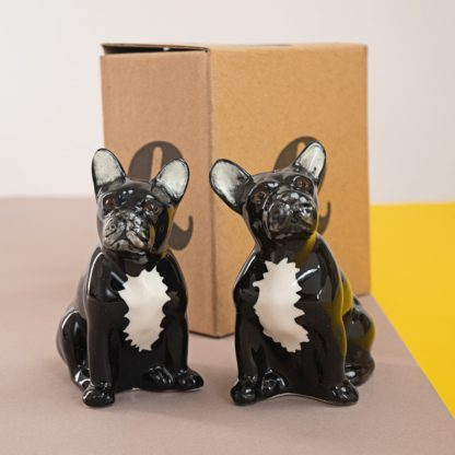 Salt and pepper shakers in shape of french bulldogs