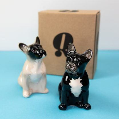 Salt and pepper shakers in the shape of a French Bulldog