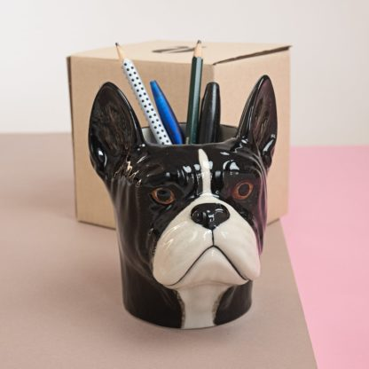 Pen holder in shape of french bulldogs