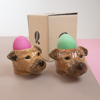 Egg cups in shape of terriers