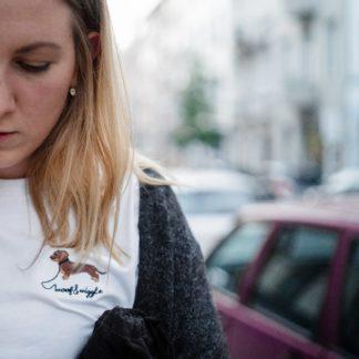 T-Shirt mit Rauhaardackel Stick